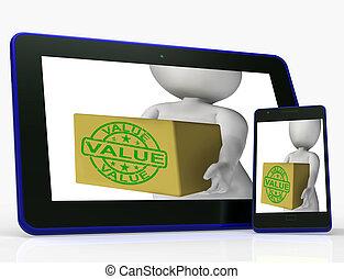 boîte, marchandises, moyens, valeur, qualité, valeur