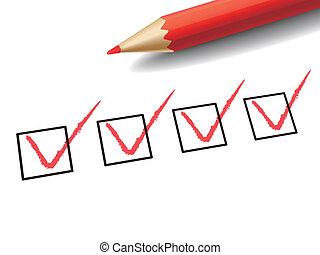 boîte, marquant stylo, rouges, chèque