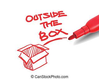 boîte, marqueur, dehors, rouges, mots