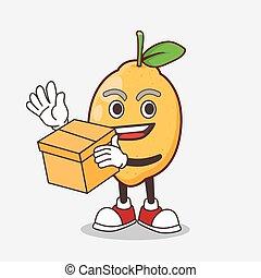 boîte, mascotte, citron, tenue, fruit, dessin animé, caractère