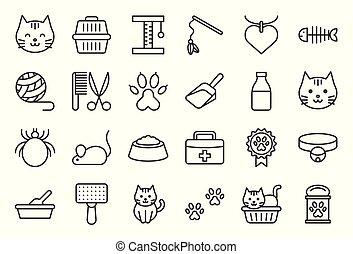 boîte, mignon, contour, jouet, editable, coup, apparenté, chat, literie, tel, icône