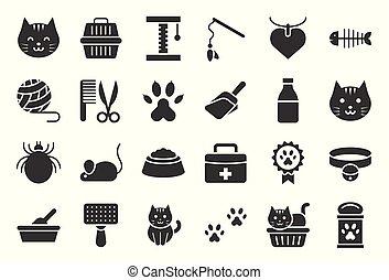 boîte, mignon, jouet, apparenté, chat, solide, literie, conception, tel, icône