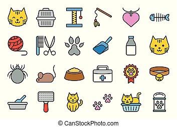 boîte, mignon, jouet, editable, coup, apparenté, chat, literie, tel, icône
