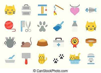 boîte, mignon, plat, jouet, apparenté, chat, literie, conception, tel, icône