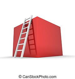 boîte, montée, brillant, haut, rouges