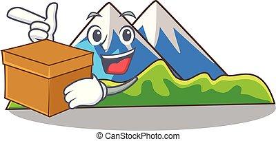boîte, montagne, caractère, formulaire, miniature