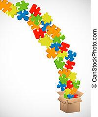 boîte, morceaux puzzle, exploser, fond, carton, dehors