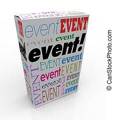 boîte, mot, exposition, paquet, annoncer, réunion, événement, spécial