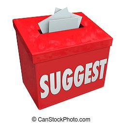 boîte, mot, réaction, soumission, suggérer, suggestions, idées, comments