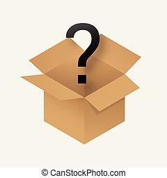boîte, mystère, icône