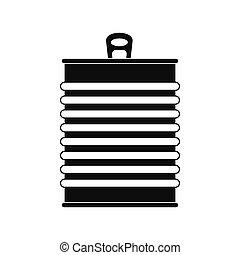 boîte, noir, étain, icône, simple