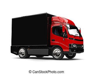 boîte, noir, camion, caravane, rouges