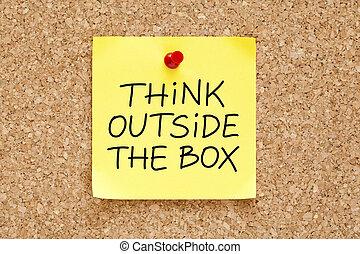 boîte, note, dehors, penser, collant