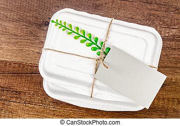boîte, nourriture, biodégradable, tag., vide