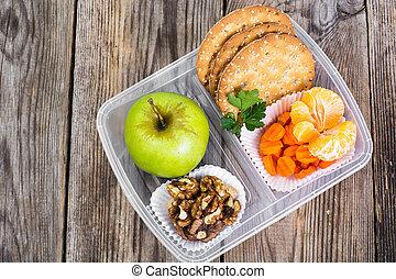 boîte, &, nourriture, déjeuner, santé, fond, fitness, bois