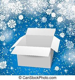 boîte, ombres, neige bleue, illustration, arrière-plan., vecteur, reflectoins., blanc
