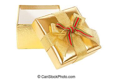 boîte, or, cadeau, ouvert