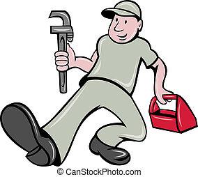 boîte outils, clé, plombier, singe