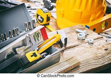 boîte, outils, métal, main