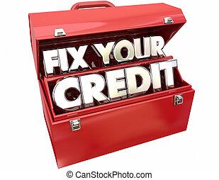 boîte outils, mots, partition, amélioration, réparation, fixer, classement, ton, rouges, crédit, 3d