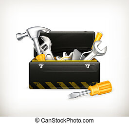boîte outils, noir
