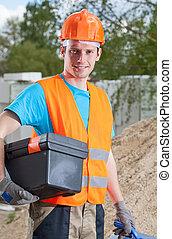 boîte outils, ouvrier construction, tenue