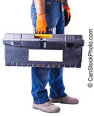 boîte, outils, ouvrier, tenant mains