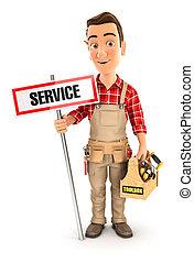 boîte outils, service, signe, bricoleur, 3d