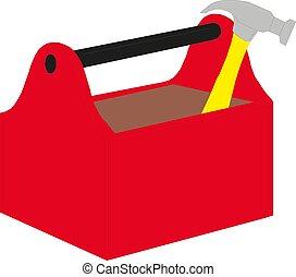 boîte outils, vecteur, outils, illustration
