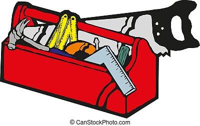 boîte outils, vecteur, outils, rouges, main