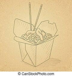 boîte, ouvert, chinois, nourriture., sortir