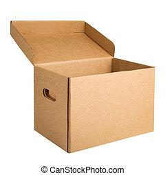 boîte, ouvert, stockage, isolé, blanc, carton, archive
