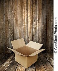 boîte, papier brun, ouvert
