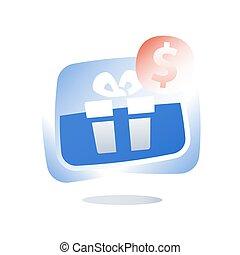 boîte, paquet, cadeau, donner, coupon, loin, offre, loyauté, gratuite, présent, plaisir, escompte, programme, bouton, récompense, spécial