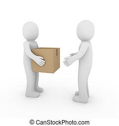 boîte, paquet, deux, expédition, humain, 3d