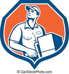 boîte, paquet, ouvrier, livrer, livraison, retro, carton