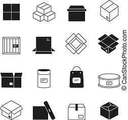 boîte, paquets, isolé, icons., symboles, vecteur, enveloppes, courrier, carton, pile