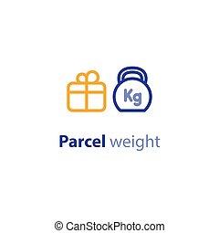 boîte, parameters, paquet, poids, options, expédition, services, expédition, taille