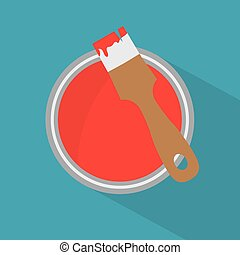 boîte, peinture, rouges, vecteur, brosse, icon-, illustration
