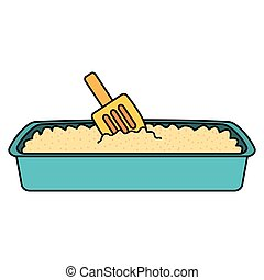 boîte, pelle sable, chat, bain