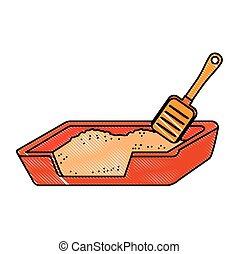 boîte, pelle sable, chat