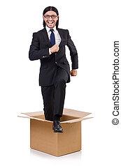 boîte, pensée, concept, dehors, homme
