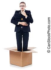 boîte, pensée,  concept, femme, dehors