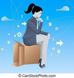 boîte, pensée, dehors, concept, business