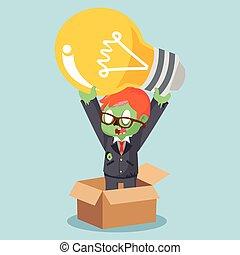 boîte, pensée, zombi, dehors, ampoule, homme affaires