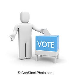 boîte, personne, vote