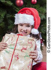 boîte, peu, cadeau, elle, enfant, arbre, joyeux, sous, girl, noël