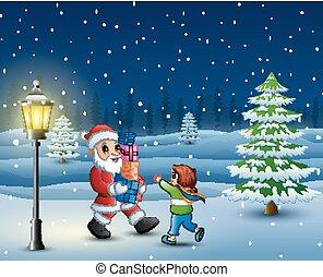 boîte, peu, cadeau, neiger, apporter, colline, santa, girl
