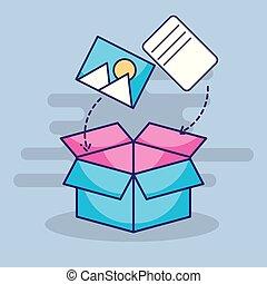 boîte, photo, document, stockage, numérique