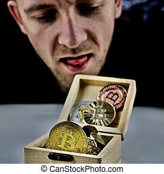 boîte, physique, bitcoins, homme